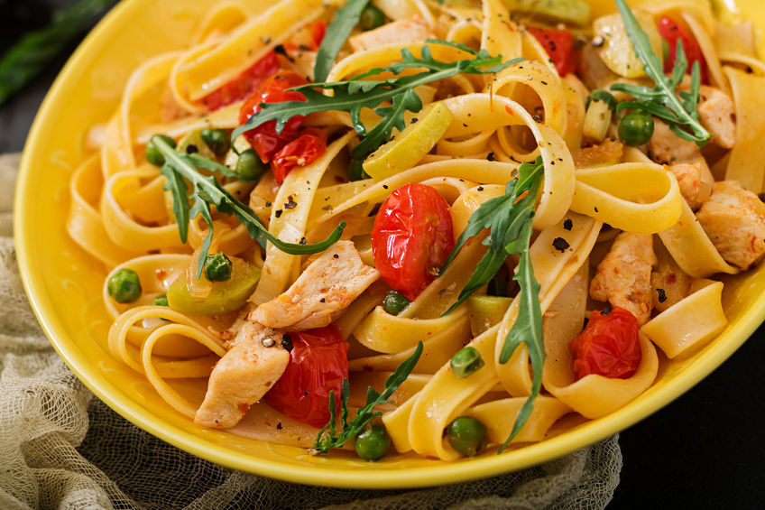 Chicken and Fettuccine with Tomato Cream Sauce